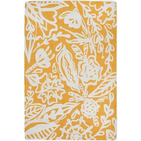 Handmade Glamis Mustard Yellow Rug (India) - 8' x 10'/Surplus