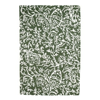 Handmade Chantilly Dark Green Rug (India) - 5' x 8'