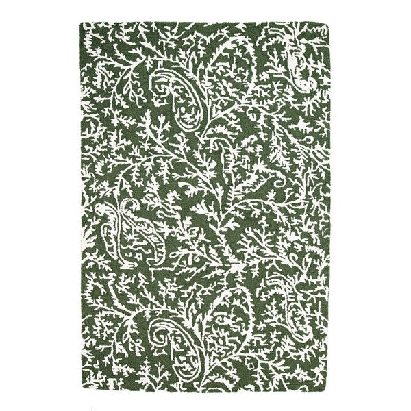 Handmade Chantilly Dark Green Rug (India) - 3' x 5'
