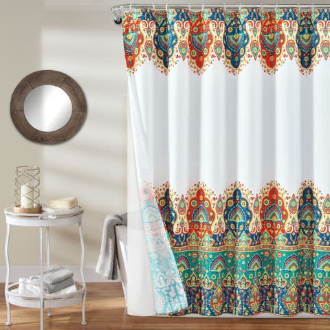 Lush Decor Bohemian Meadow Shower Curtain with Peva Lining and Rings Set