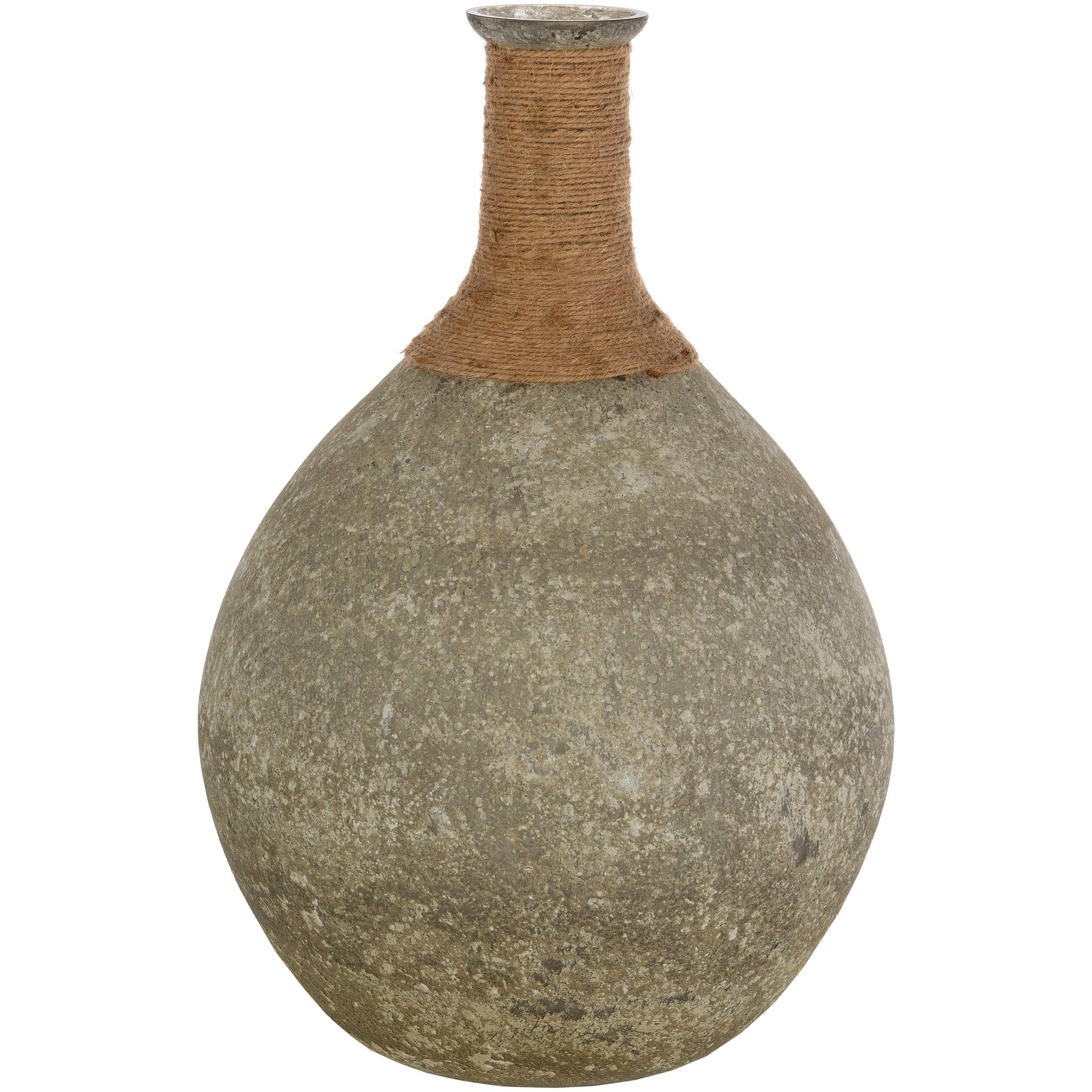 Shop Bousquet Transitional Glass And Jute Bud Shaped Floor Vase On Sale Overstock 29613333