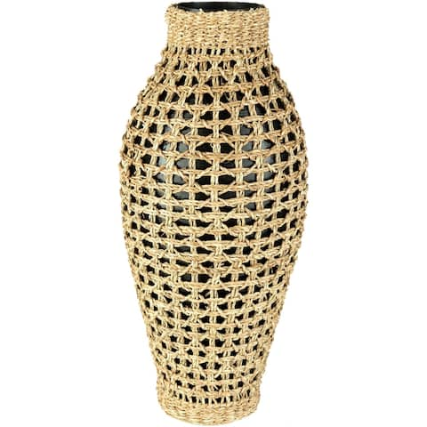 Sandro Bohemian Bamboo and Seagrass Bud Shaped Floor Vase