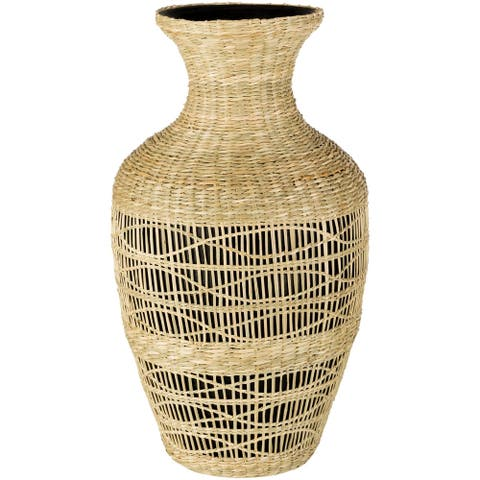 Zenobia Bohemian Bamboo and Seagrass Bud Shaped Floor Vase