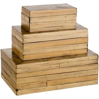 "Rouzet Bohemian Bamboo Decorative Box Set (3 Piece) - 13.8"" x 8.3"" x 4.9"""