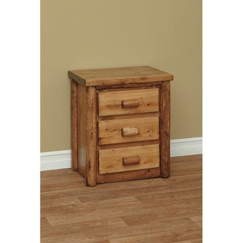 White Cedar Log Classic 3 Drawer Nightstand/ End Table