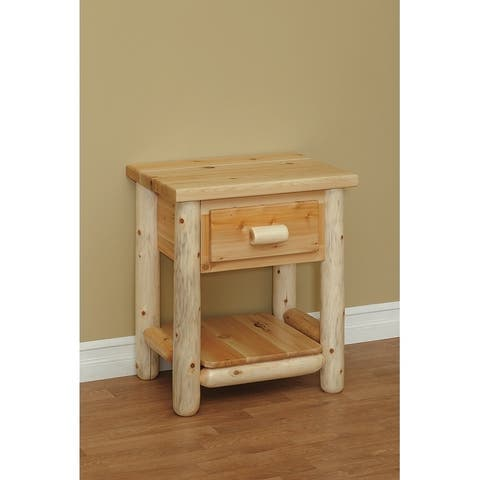 White Cedar Log Classic 1 Drawer Nightstand/ End Table