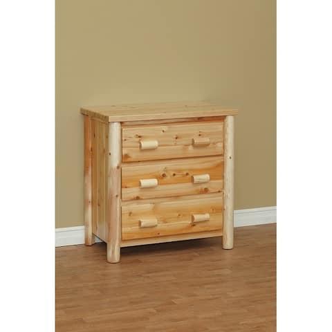 White Cedar Log Classic 3 Drawer Chest