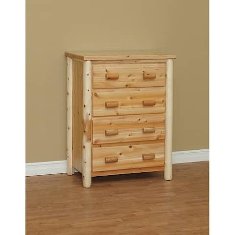 White Cedar Log Classic 4 Drawer Chest