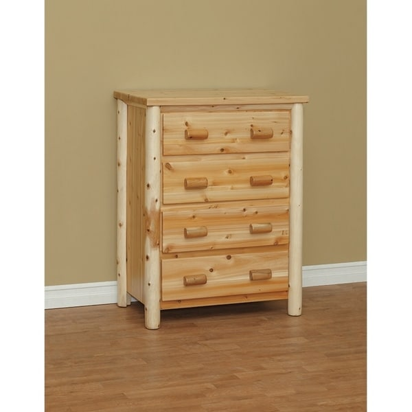 White Cedar Log Classic 4 Drawer Chest