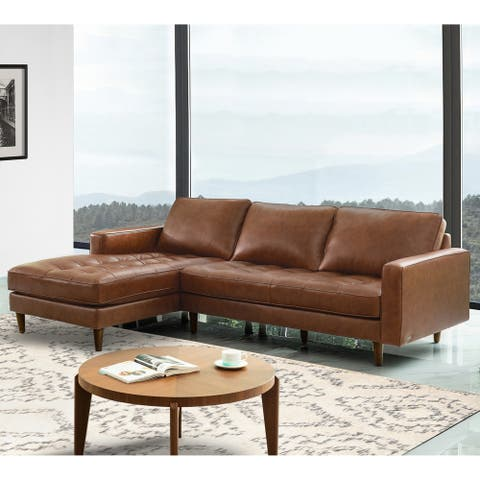 Abbyson Holloway Mid-Century Top Grain Leather Sectional