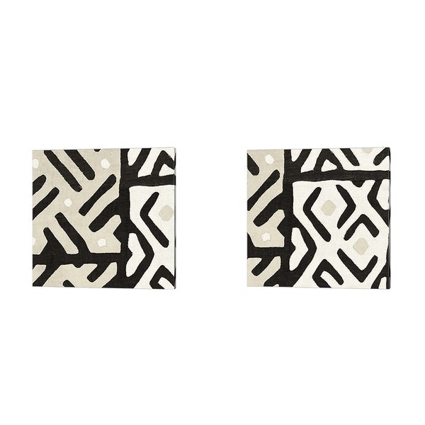 Wild Apple Portfolio 'Kuba Cloth I Sq Neutral' Canvas Art (Set of 2)