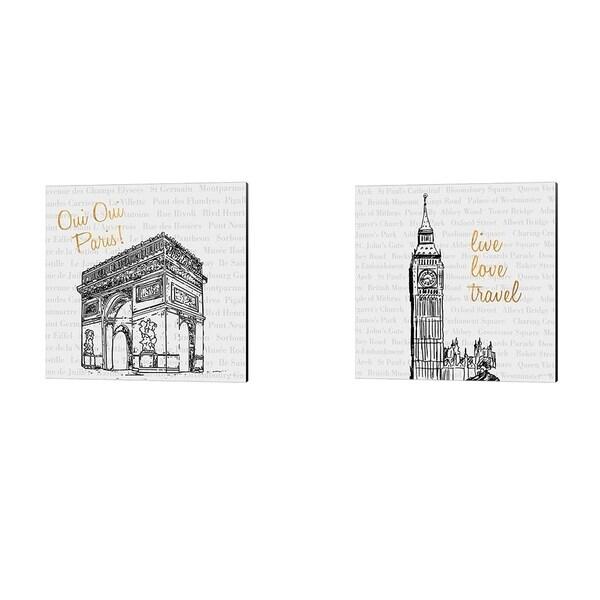 Nick Biscardi 'Travel Pack V & Live Love Travel' Canvas Art (Set of 2)