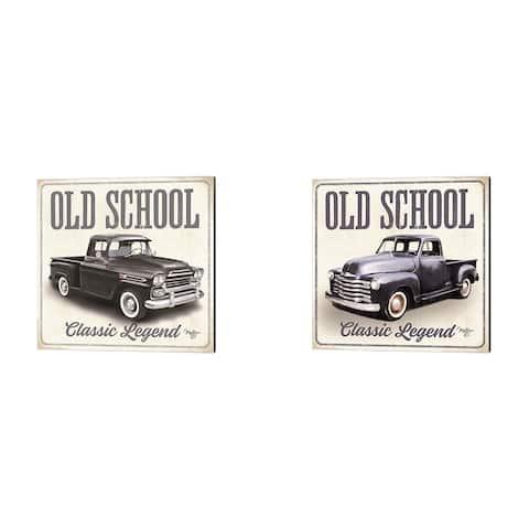Mollie B. 'Old School Vintage Trucks' Canvas Art (Set of 2)