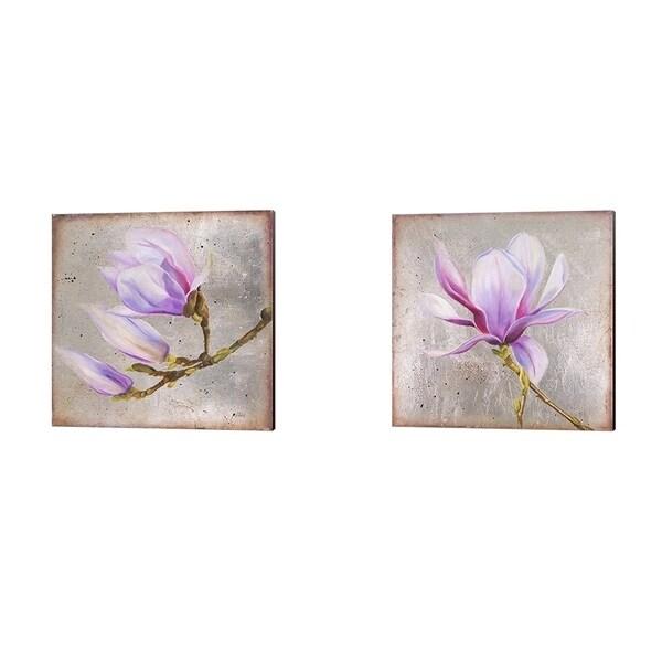 Patricia Pinto 'Magnolia on Silver Leaf' Canvas Art (Set of 2)