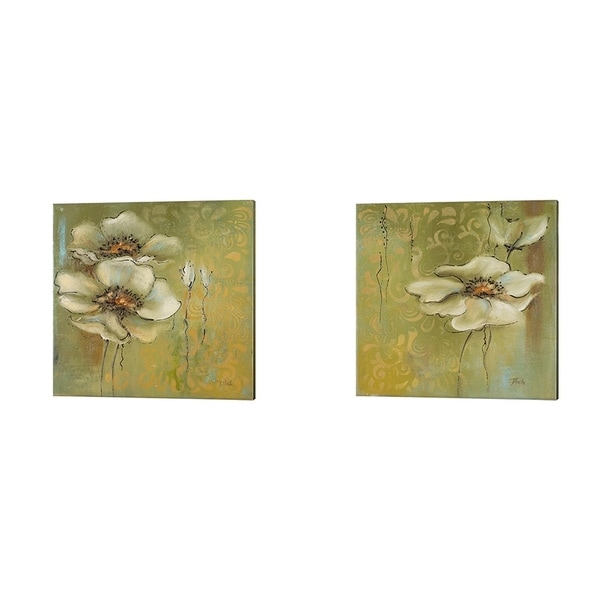 Patricia Pinto 'The Green Flowers' Canvas Art (Set of 2)