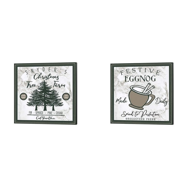 Elizabeth Medley 'Taupe Christmas Sign A' Canvas Art (Set of 2)