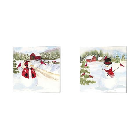 Tara Reed 'Snowman Christmas B' Canvas Art (Set of 2)
