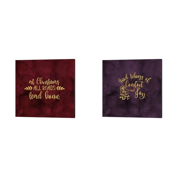 Tara Reed 'All that Glitters for Christmas A' Canvas Art (Set of 2)