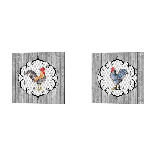 Andi Metz 'Rooster on the Roost' Canvas Art (Set of 2)