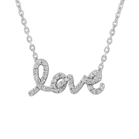 Beverly Hills Charm Sterling Silver 1/4CT. Diamond Love Necklace