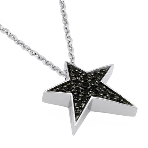 Beverly Hills Charm Sterling Silver 1/4CT. Black Diamond Star Necklace