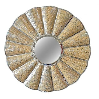 """Banner Round Scalloped Wall Mirror - 34"""" Dia."""