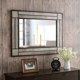 """Matty Natural Modern Rectangular Wall Mirror - 38"""" x 28"""""""