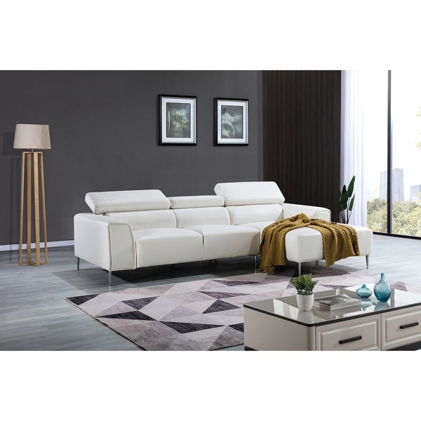 Modern White Leather Adjustable Headrest Chaise Sectional Sofa