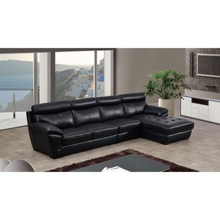 Modern Leather Upholstered Tufted Chaise Sectional Sofa