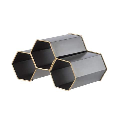 Black Geometric Iron Wine Holder