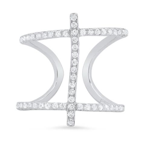 Sterling Silver Cubic Zirconia Cross Cage Ring ( Size 5-8 )
