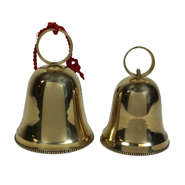 Handcrafted Solid Brass Christmas And Holiday 2-Piece Bell Set - N/A