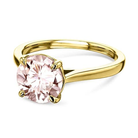 Annello by Kobelli 14k Gold 8mm Round Pink Morganite Taper Shank Cathedral Solitaire Ring