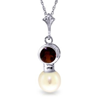 2 48 Carat 14K White Gold Something Gained Garnet Pearl Necklace