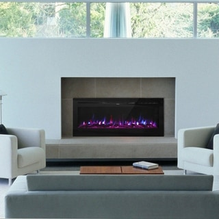 Kinbor 50 Inches Recessed Electric Fireplace, Wall Mounted Fireplace Heater with Remote, Log Set & Crystal, 1500W Heater