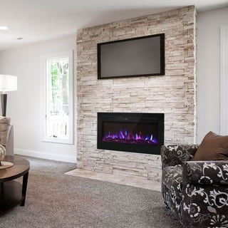 Kinbor 36 inches Recessed Electric Fireplace, Wall Mounted 750/1500 W Fireplace Heater, Log & Crystal