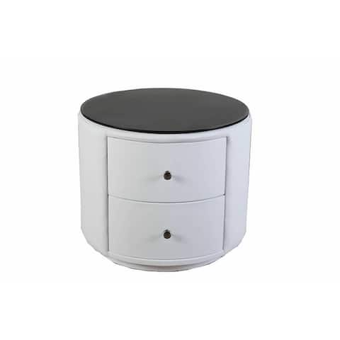 Greatime NL2002 Round Nightstand with Two Drawers