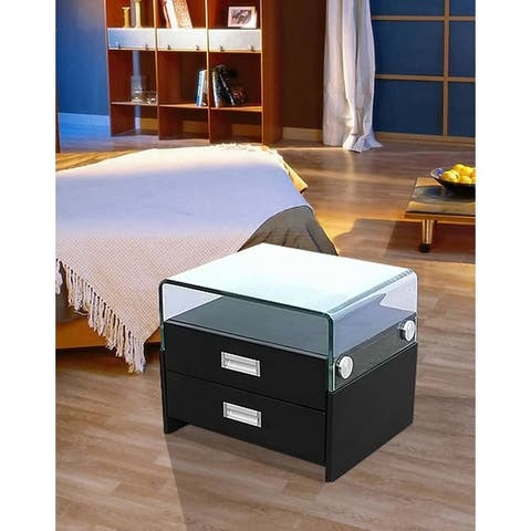 Porch & Den Pohlman Glass Top/ Faux Leather 2-drawer Nightstand