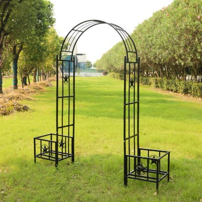 Herche 7.5-foot Metal Garden Arch with Planter Boxes For Climbing Plant by Havenside Home