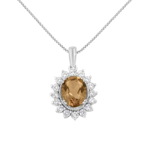 10K White Gold 1/2ct Diamond and 9MM Morganite Gemstone Oval Pendant Necklace (H-I,I1-I2)