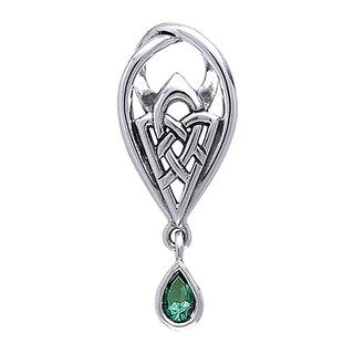 Sterling Silver Celtic Knot Of Protection Teardrop Pendant Green Glass