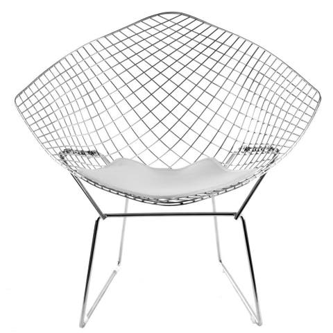 Oliver Papasan Diamond Wire Chair - Chrome Frame (Set of 2)