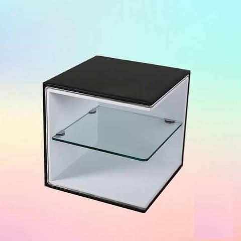 Greatime NL2001 Modern Nightstand, Black&White with Glass Shelf