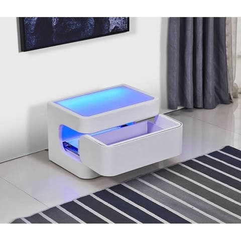 Greatime NL2401 Modern Nightstand with LED
