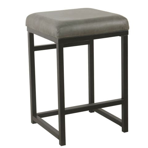 HomePop Open Back Counter Stool - Gray Faux Leather - 24 inches