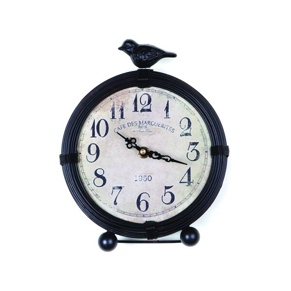 Cottage Distressed Black Metal Clock