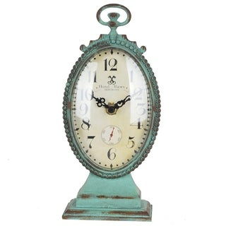 Distressed Turquoise Hotel View Metal Tabletop Clock With Top Handle