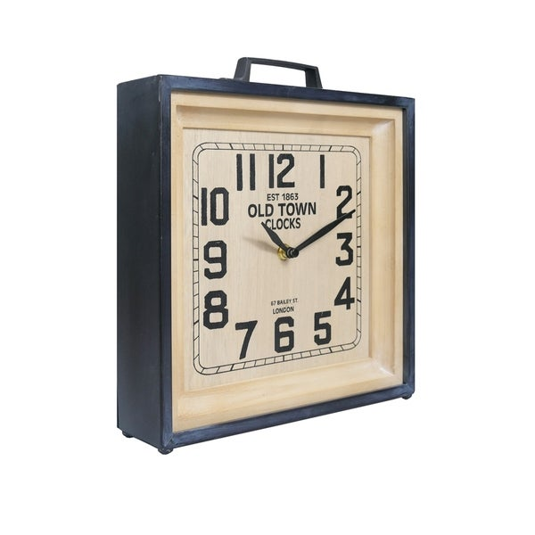 Retro Navy Suitcase Metal Clock