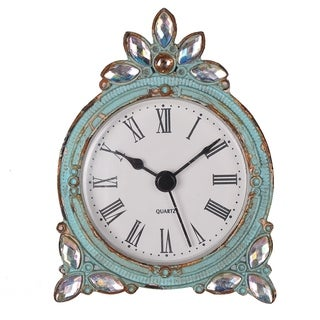 Aquamarine Mini Metal Tabletop Clock