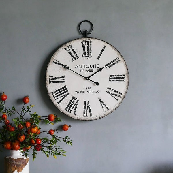 Round Metal Wall Clock with Top Loop